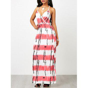 Backless Ink Painting Striped Maxi Surplice Dress