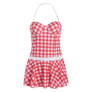 Plus Size Plaid Skirted Underwire Swimsuit