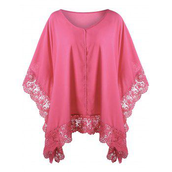 Plus Size Butterfly Sleeve Lace Hem Blouse