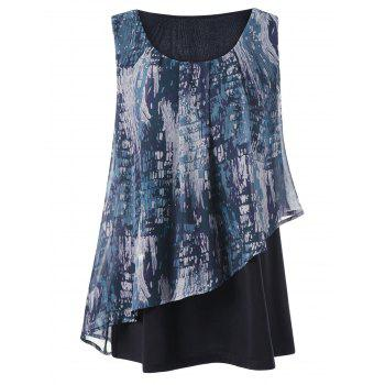 Plus Size Graphic Overlay Sleeveless Blouse