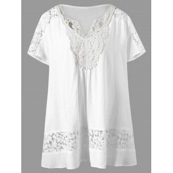 V Neck Plus Size Lace Panel Tunic - WHITE WHITE