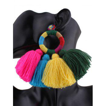 Ethnic Circle Tassels Drop Earrings