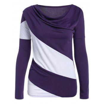 Cowl Neck Color Block Long Sleeve T-Shirt - Purple - Xl