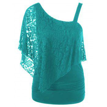 One Shoulder Lace Capelet T-Shirt