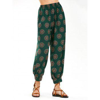 High Waist Flower Print Arab Harem Pants