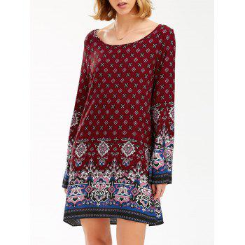 Flared Long Sleeve Bohemian Print Tunic Dress