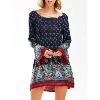 Boho Flare Sleeve Printed Tunic Dress