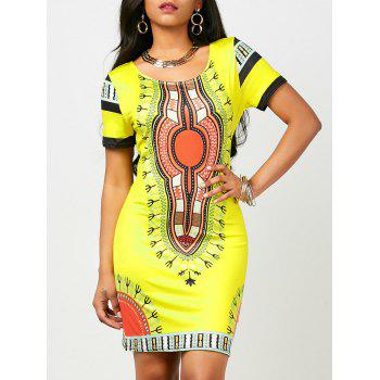 Dashiki Print Short Bodycon Dress (Random Print)