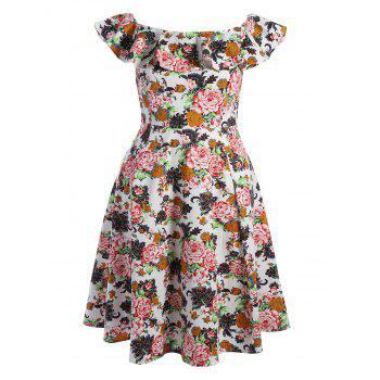 Plus Size Flounce Floral Off The Shoulder Retro Cocktail Dress