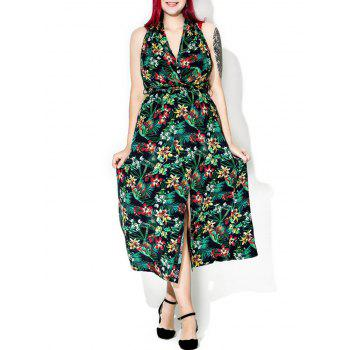 Tropical Floral Print Halter Backless Maxi Dress - multicolor multicolor