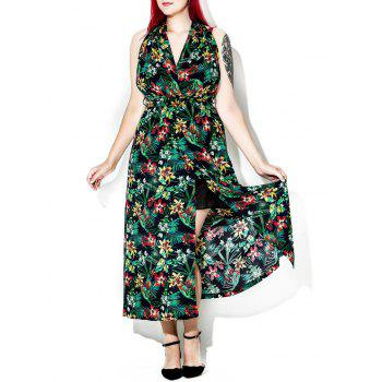 Tropical Floral Print Halter Backless Maxi Dress