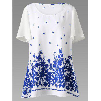 Plus Size Chiffon Sleeve Floral Tunic Top - BLUE AND WHITE XL