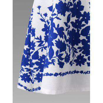 Plus Size Chiffon Sleeve Floral Tunic Top - BLUE/WHITE 2XL