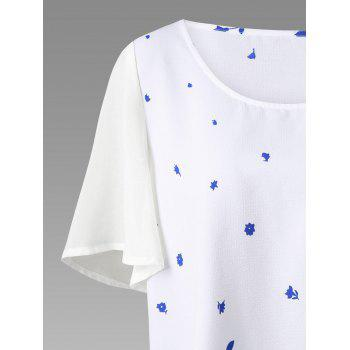 Plus Size Chiffon Sleeve Floral Tunic Top - BLUE/WHITE 3XL