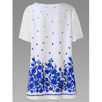 Plus Size Chiffon Sleeve Floral Tunic Top - BLUE/WHITE 5XL