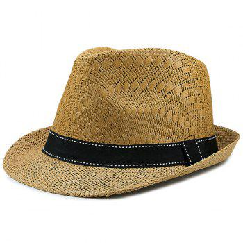 Woven Sunproof Ribbon Splicing Straw Hat