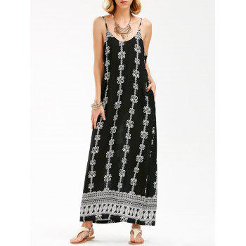 Backless Jewelry Printed Maxi Slip Dress