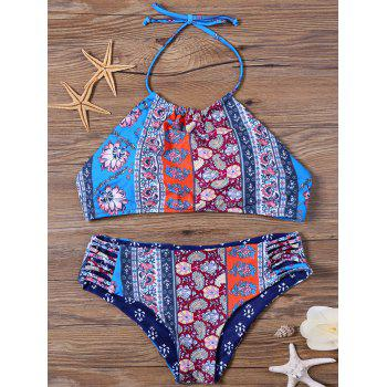 High Neck Halter Floral Padded Bikini Set