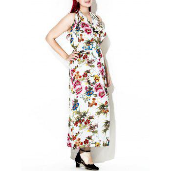 Halter Backless Floral Maxi Dress - multicolor multicolor