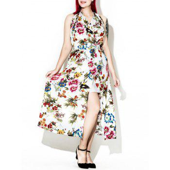 Halter Backless Floral Maxi Dress