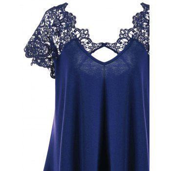 Plus Size Asymmetric Lace Trim T-Shirt - DEEP BLUE 2XL
