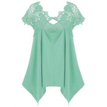 Plus Size Asymmetric Lace Trim T-Shirt - MINT MINT