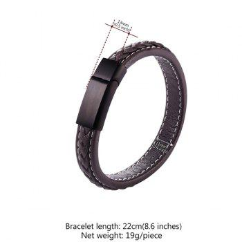 Faux Leather Rope Braid Cool Bracelet -  BROWN