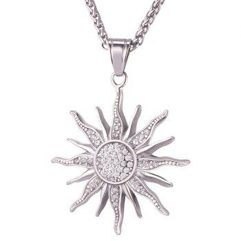 Stainless Steel Sun Rhinestone Pendant Necklace