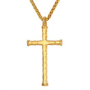 Stainless Steel Crucifix Shaped Pendant Necklace - GOLDEN GOLDEN