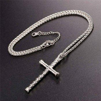 Stainless Steel Crucifix Shaped Pendant Necklace -  STAINLESS STEEL