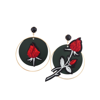 Rose Flower Embroidery Circle Drop Earrings