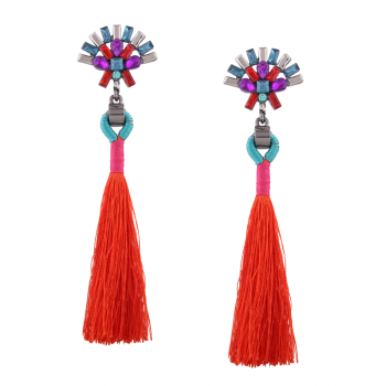 Rhinestone Geometric Tassel Statement Earrings