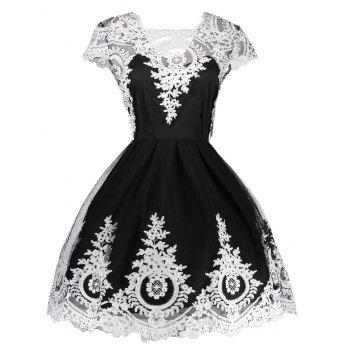 Vintage Lace Panel Fit and Flare Dress