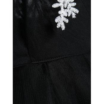 Vintage Lace Panel Fit and Flare Dress - BLACK BLACK