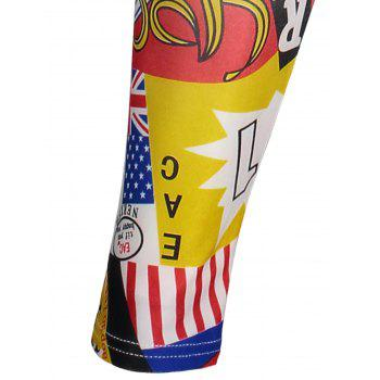 Letters American Flag Print Tight Leggings - ONE SIZE ONE SIZE