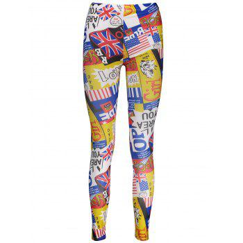 Letters American Flag Print Tight Leggings - COLORMIX ONE SIZE