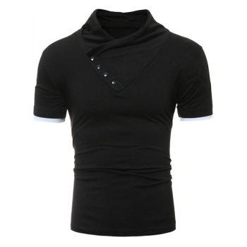 Buttons Design Shawl Collar Short Sleeve T-Shirt