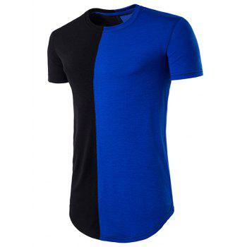 Curve Bottom Color Block Panel Longline T-Shirt