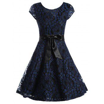 Short Sleeve Belted Lace Overlay Dress