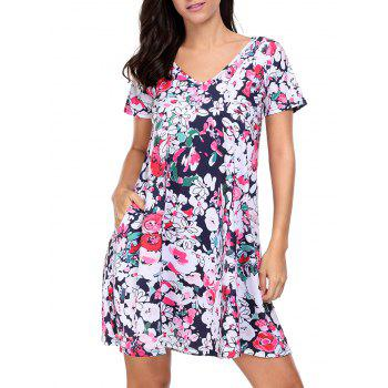 V Neck Floral Short Shift Dress