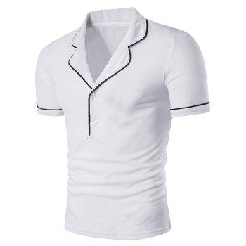 Button Novelty Turndown Collar Polo T-Shirt