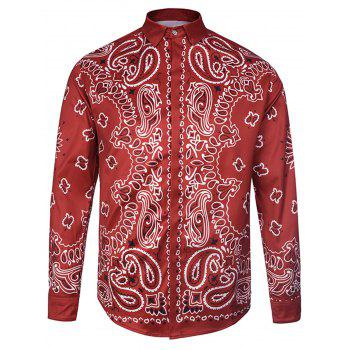 Paisley Print Curve Bottom Cover Placket Shirt