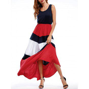 Patriotic High Waisted Contrast Panel Dress