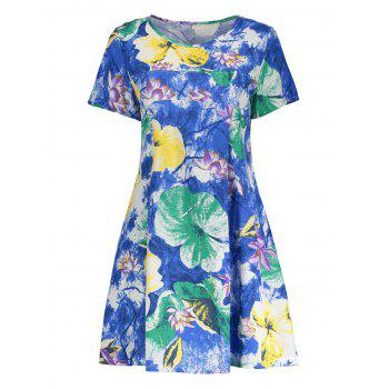 Floral Print Cotton Blend A Line Dress