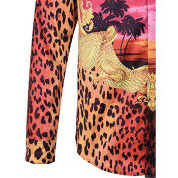 Cover Placket Ombre Leopard Graphic Print Curve Bottom Shirt - COLORMIX 2XL
