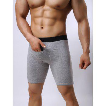Color Block Stretch Front Pocket Design Shorts - GRAY M