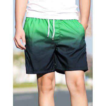Ombre Drawstring Straight Leg Board Shorts - GREEN GREEN
