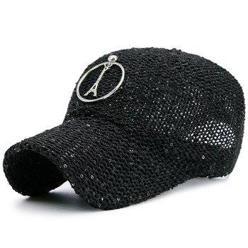 Sequins Metallic Pendant Circle Woven Baseball Hat - BLACK BLACK