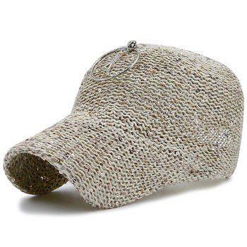 Sequins Metallic Pendant Circle Woven Baseball Hat - LIGHT KHAKI LIGHT KHAKI