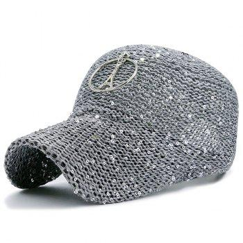 Sequins Metallic Pendant Circle Woven Baseball Hat